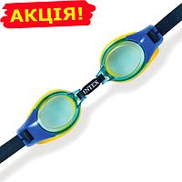 Очки для плавания Junior Intex для детей от 3 до 8 лет, цвет синий синие