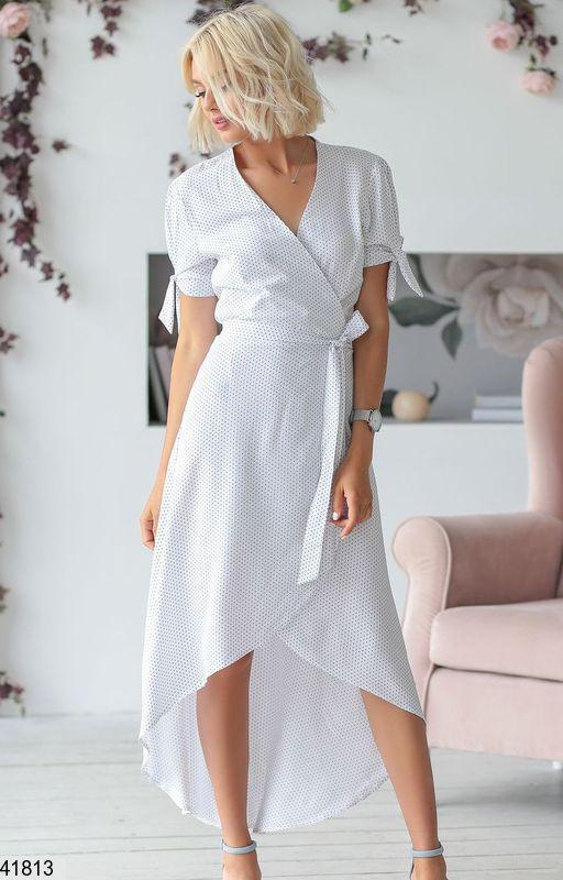 d57c5bf8246 Нарядное платье асимметрия на запах с поясом белое в черный горошек -