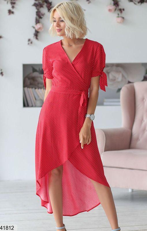 3e6ed2e6c85 Модное платье асимметричное на запах штапель красное в белый горошек -