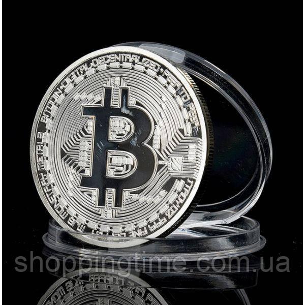 Купить РАСПРОДАЖА! Сувенирная монета coin Bitcoin серебро