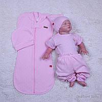 Розовый кокон и комплект одежды для новорожденной девочки Нежность