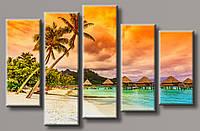 """Модульная картина на холсте из 5-ти частей """"Мальдивские острова"""""""