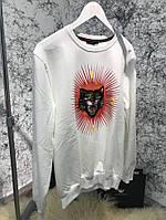 Свитшот теплый стильный Sweatshirt Gucci Angry Cat Appliqué White