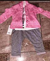 """Костюм тройка детский на кнопках на девочку 9-18 мес (3 цвета) """"MARI"""" купить оптом в Одессе на 7км, фото 1"""