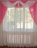Ламбрикен Классика 2м  темно  розовый с бахрамой, фото 1