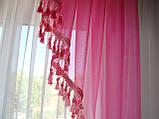 Ламбрикен Классика 2м  темно  розовый с бахрамой, фото 2