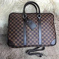 Стильный деловой портфель Louis Vuitton Porte-Dociments Voyage PM Damier Ebene