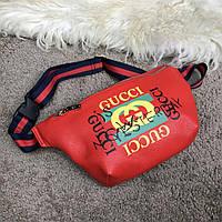 Сумка поясная бананка Gucci Belt Bag Print Leather Future Red