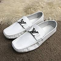 Туфли мокасины кожаные Louis Vuitton Moccasins Raspail White