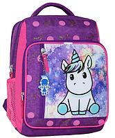 Школьный рюкзак Bagland для девочки фиолетовый Единорог