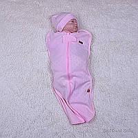 Розовая евро пеленка-кокон с шапочкой для новорожденной девочки Нежность, фото 1