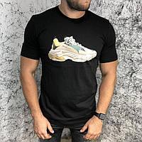 Черная стильная футболка для мужчин Balenciaga T-Shirt Triple S Trainers Black, фото 1