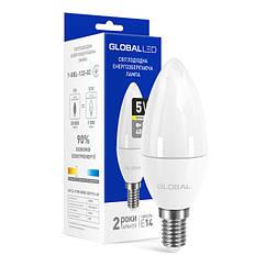 Светодиодная лампа LED Global C37 5W теплый свет E14 1-GBL-133-02