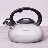 Чайник со свистком для плиты металлический 2,5 л Kamille 0689 из нержавеющей стали c пластиковой ручкой