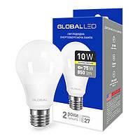 Светодиодная лампа LED Global A60 10W теплый свет E27 1-GBL-163