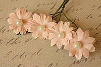 Бумажные ромашки с жемчужинкой 3,5 см 4 шт/уп. нежно-розового цвета, фото 1