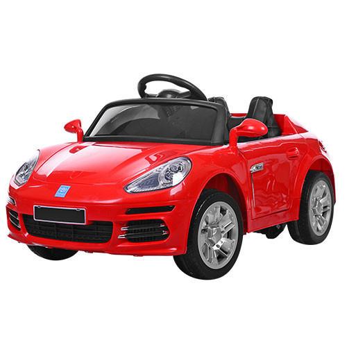 Детский электромобиль Porsche M 3446 EBLR-3 красный, мягкие колеса и кожаное