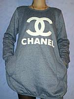 Толстовка молодежная удлиненная на флисе Chanel