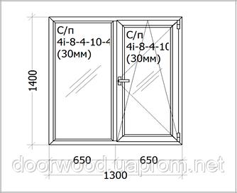 Евроокно деревянное, профиль евробрус сосна, трехслойный, стеклопакет энергосберегающий 2х камерный.