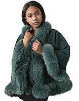 Пончо Кейп Пальто RizhikOva 65 см Green Oversize RO-1461