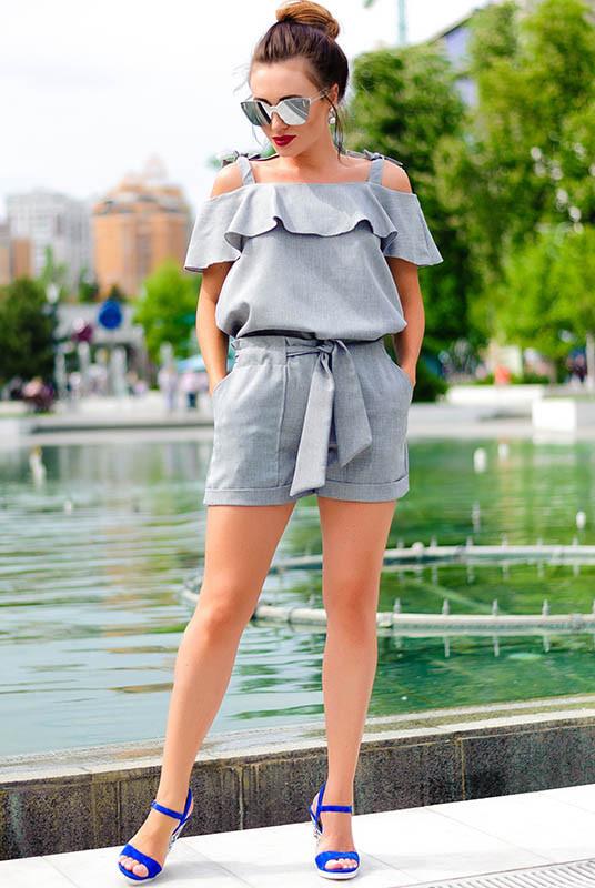 Літній жіночий костюм Симона сірий