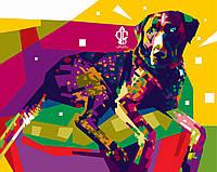 """Картина для рисования """"Радужная собака"""" 40 х 50 см, Без Коробки"""