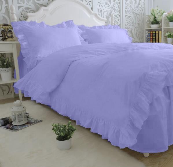 Комплект постельного белья С рюшей Сатин Премиум Сиреневый