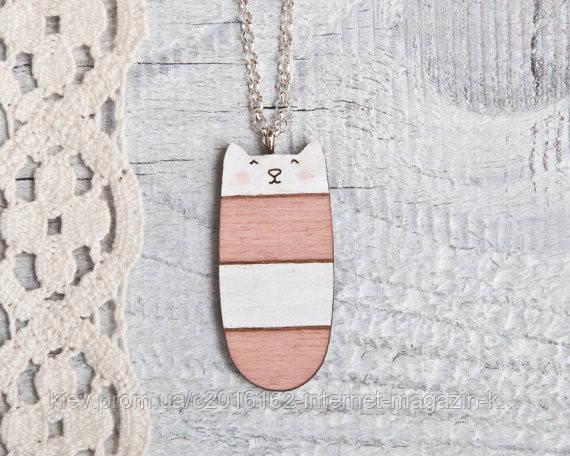 Кулончик ручной работы Кот розово-белая полоса