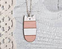 Кулончик ручной работы Кот розово-белая полоса, фото 1