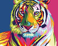"""Картина для рисования """"Тигр поп-арт"""" 40 х 50 см, Без Коробки"""