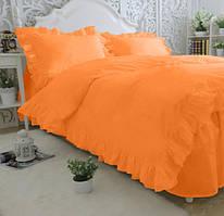Комплект постельного белья С рюшей Сатин Премиум Оранжевый