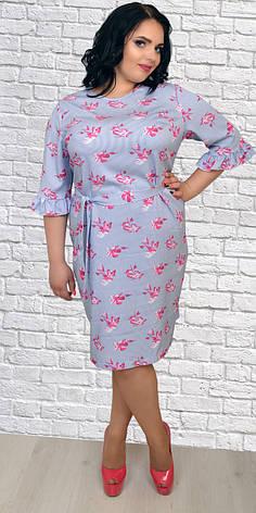 acf1be92543 Легкое платье под пояс в вертикальную полоску с цветочным принтом ...