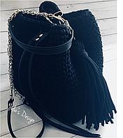 Вязаная сумка-торба с элементами кожаной фурнитуры (в расцветках) 3TP