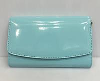 Жіноча маленька сумка клатч лаковий з ремінцем через плече Bars 1475 Блакитний