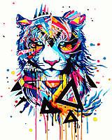 """Картина для рисования """"Красочный тигр"""" 40 х 50 см, Без Коробки"""