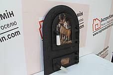 """Дверцы печные со стеклом """"Олень"""" Чугунная дверка для печи барбекю, фото 2"""