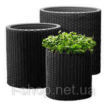 Набор горшков для цветов Cylinder Planter Set, серый, фото 3