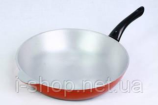 Сковорода 300 з одним литим вушком і пластмасовою ручкою, з кришкою, фото 3