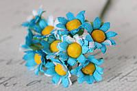 Ромашки 2  см 6 шт/уп. ярко-голубого цвета, фото 1