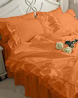 Постельное белье С двойной рюшей Сатин Премиум Оранжевый (модель 2)