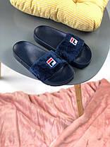 Женские тапочки Fila Slippers Fur Blue, Фила слиперс, фото 2