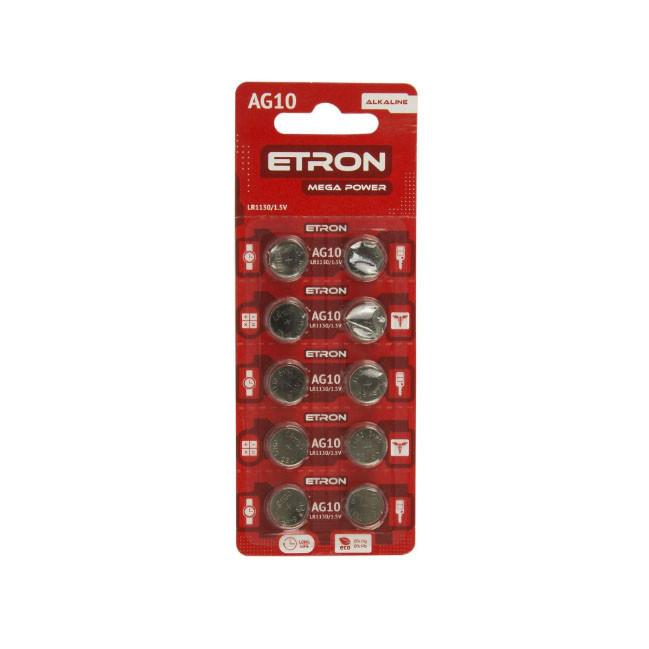 Батарейка алкалоидная ETRON Mega Power AG 10 (LR1130) Blister 10 pcs 20, 400