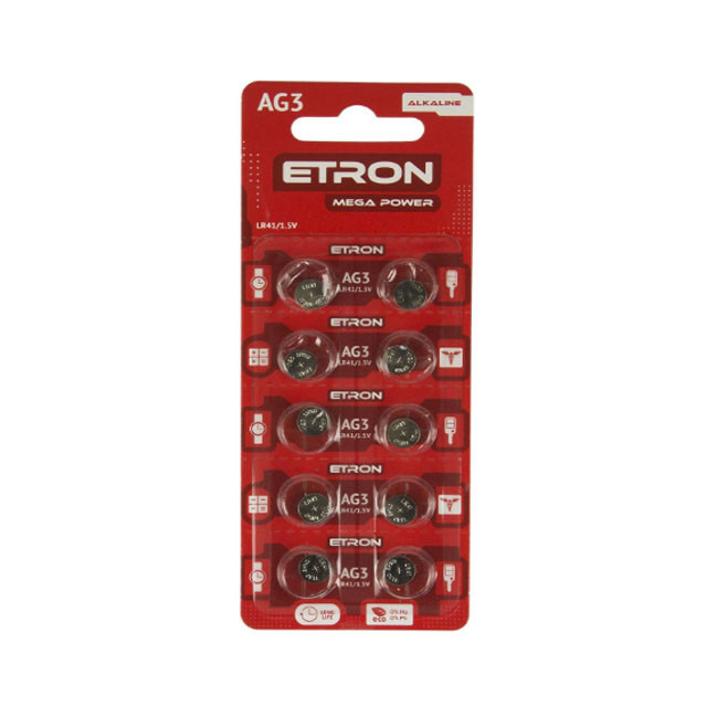 Батарейка алкалоидная ETRON Mega Power AG 3 (LR41) Blister 10 pcs 20, 400