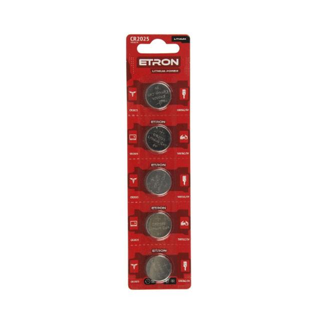 Батарейка литеевая ETRON Lithium Power CR2025 3V Blister 5 pcs 12, 600