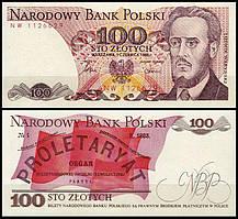 Польша 100 злотых 1986  UNC