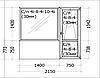 Евроокно деревянное глухое с балконной дверью, профиль евробрус сосна, стеклопакет энергосберегающий.