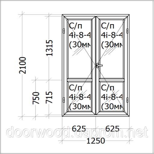 Евроокно - двойная балконная дверь, профиль евробрус сосна, стеклопакет энергосберегающий.