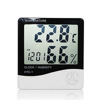 Гигрометр термометр HTC-1 цифровой. Метеостанция. Часы Будильник