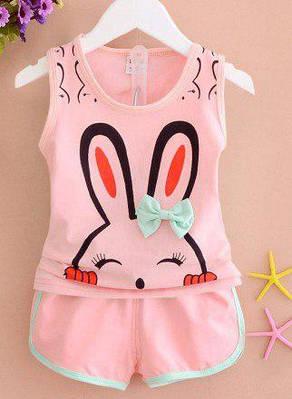Летний костюм для девочки Зайка майка и шорты розовый  продажа dc1c78614ea1f
