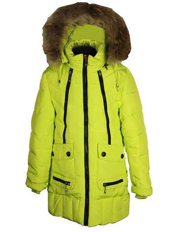 Детское яркое зимнее пальто парка для девочки 152 рост лимонное, фото 2